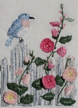 Hollyhocks and Song Bird pic