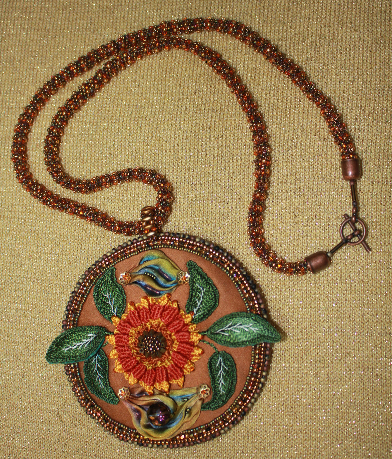 Sunflower Medallion Necklace pic